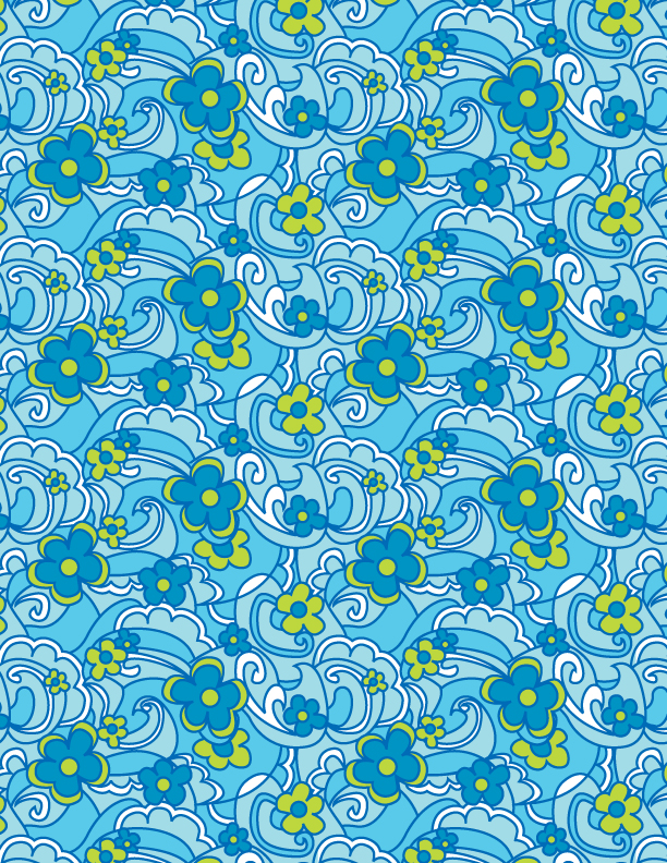 Sylvia Brewster textile print in repeat of blue flower 1960's retro, created in Illustrator