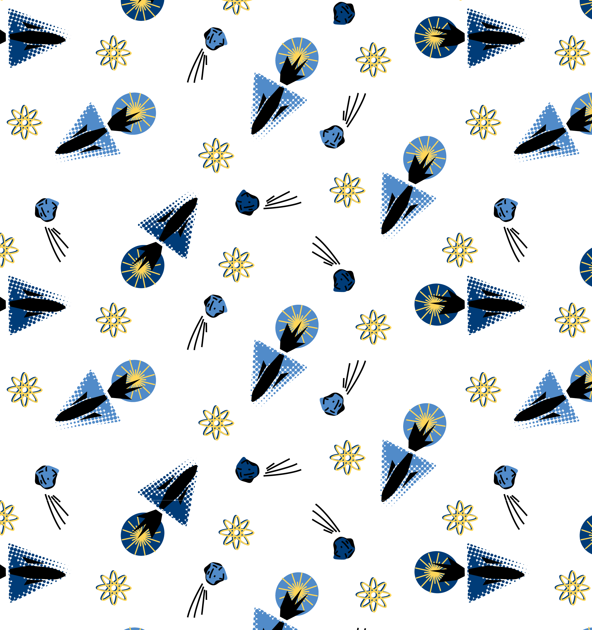 Sylvia Brewster textile print in repeat of boys rocket pattern, created in Illustrator