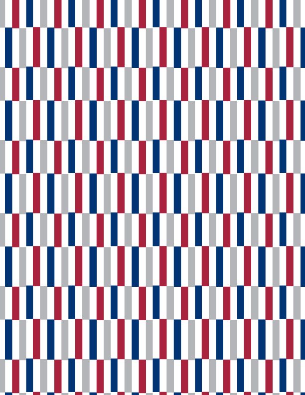 Sylvia Brewster men's textile print in repeat of red, white and blue rectangles